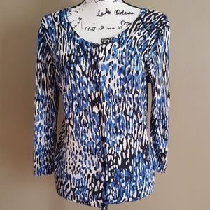Talbots Women's Blue Black White Cardigan size MP